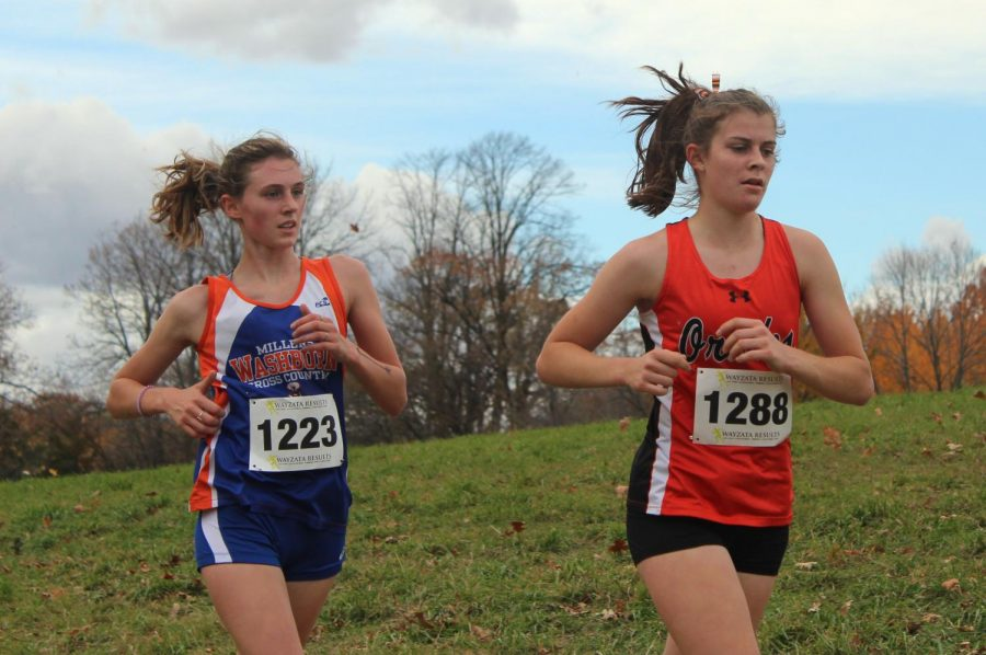 Senior captain Erin Brousseau runs in her last sections meet Oct. 14. The girls team placed 6th out of 16 teams.
