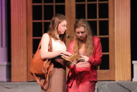 "Seniors Annica Schultz and Phoebe McKinney rehearse their lines for the fall musical last year, ""Legally Blonde."" This year's production of ""Vintage Hitchcock: A Live Radio Play"" will be available to stream around the end of November."