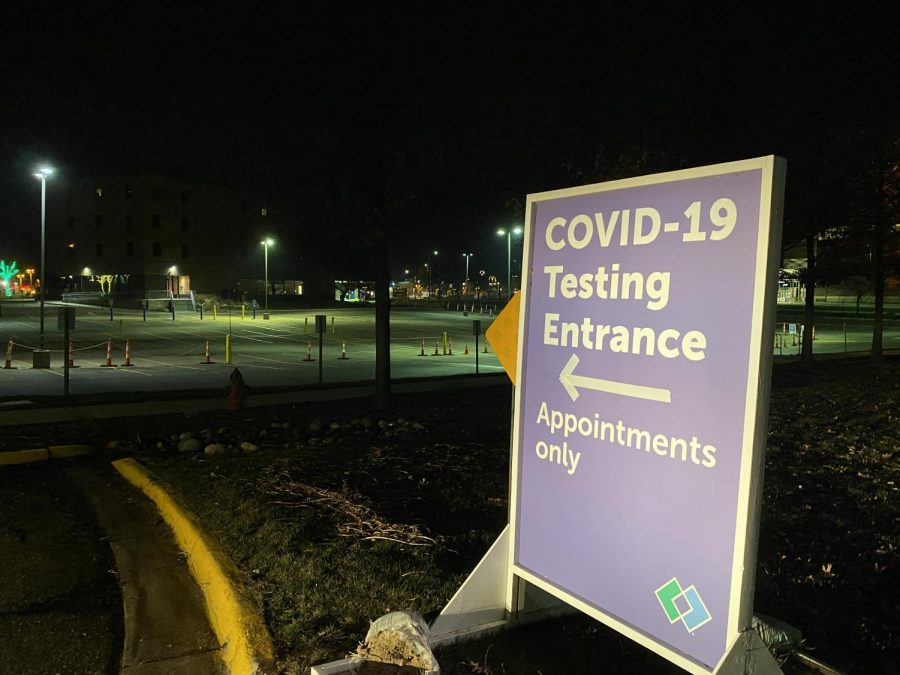 A COVID-19 testing site sign directs cars in to the Park Nicollet parking lot. Testing is available from 8 a.m.-8 p.m. weekdays and from 8 a.m.-5 p.m. weekends.