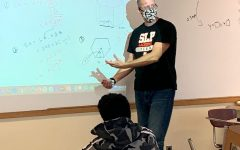 Math teacher Chad Austad talks with students during hybrid learning Oct. 27. Park returned to distance learning Nov. 16.