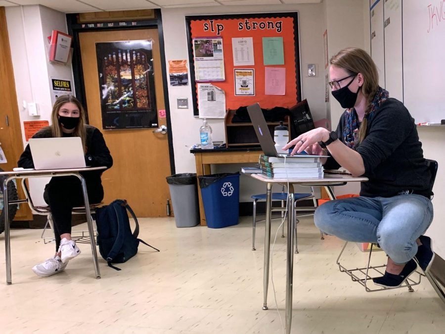 Social studies teacher Jill Merkle teaches her IB History students during hybrid learning Nov. 10. Freshmen and seniors will return to the building Feb. 22, followed by sophomores and juniors March 8.