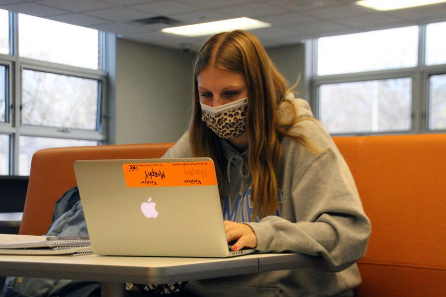 Junior Murphy Fries works to complete her schoolwork in the Orioles Nest. The Orioles Nest is a safe place to work on schoolwork during the school day.