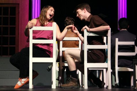 """Seniors Ruby Stillman and Sam Sietsema rehearse their roles for """"Legally Blonde"""" Nov. 14, 2019 in the Auditorium. The Park Fall production for 2020, """"Vintage Hitchcock: A Live Radio Play,"""" is set to be recorded over Zoom Dec. 9."""