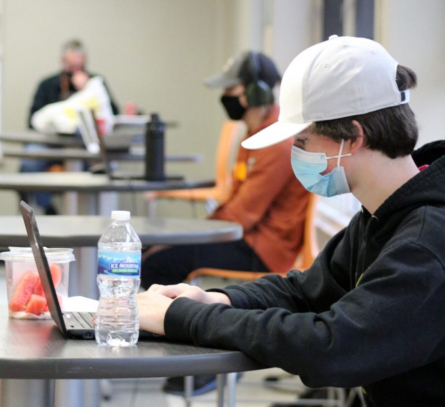 Sophomore Frankie Robello works on his computer at the Oriole Study Nest Dec. 17. The Study Nest is open Monday to Friday during school hours and is a resource for those who need a quiet environment to work.