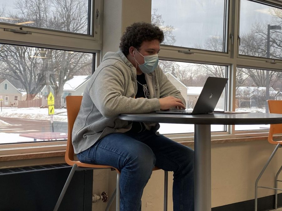 Sophomore Henry Eaton does make-up work at the Oriole Study Nest Jan. 13. The Oriole Study Nest is open to all students.