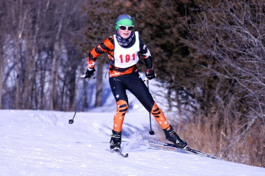 Seventh grader Karlis Kreslins pushes to complete the race Jan. 21. The JV team gives less experienced racers a chance to compete at a difficult level.