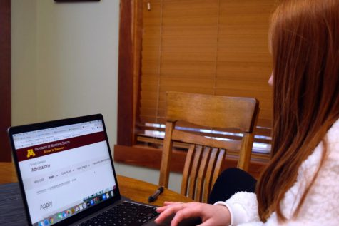 Junior Marley Miller applies to the University of Minnesota Duluth. COVID-19 has brought changes to the application requirements, stressing out many students.