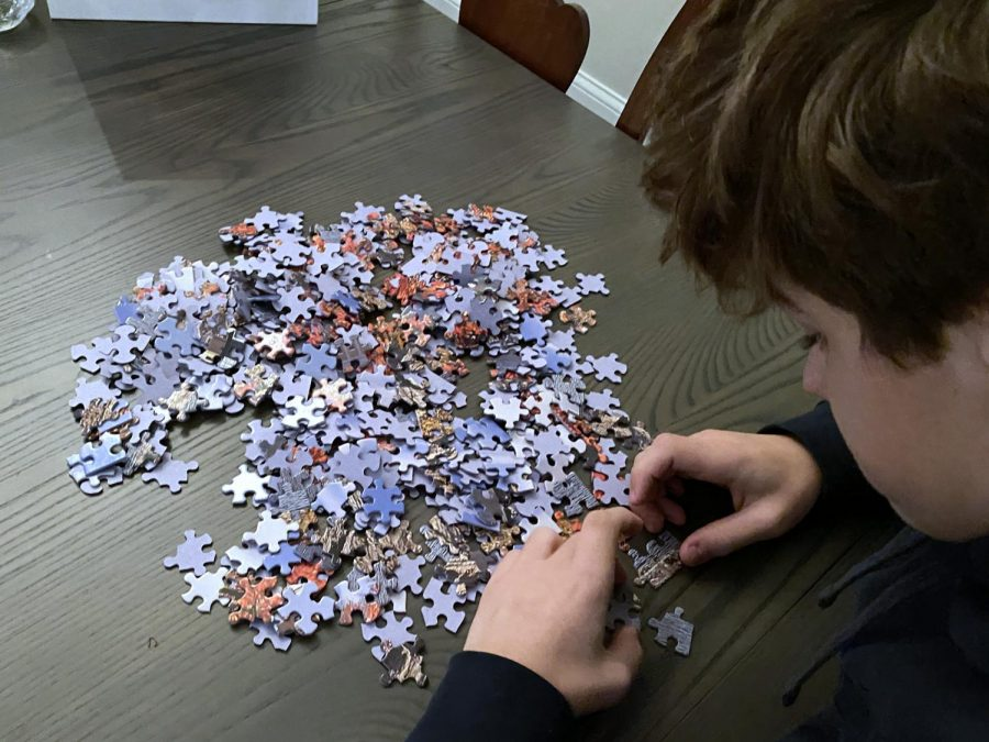 Photo illustration by Oliver Smith. Freshman Wesley Smith solves a puzzle of a lighthouse. Puzzles help Smith relax his mind after a long day of online school.