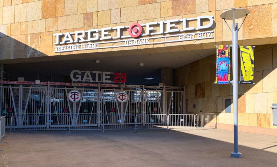 Target+Field+sits+empty+awaiting+the+return+of+fans.+The+Minnesota+Twins+proposed+a+plan+to+open+the+gates+for+fans+as+soon+as+April+8.