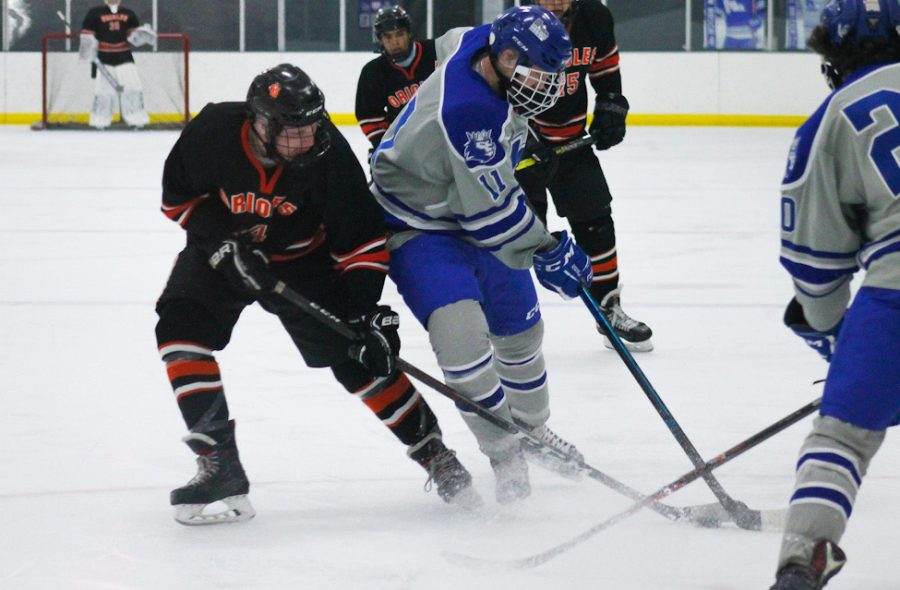 Junior Ben Farley fights with Hopkins senior Colin Geiser for the puck Feb. 25. Park defeated Hopkins 6-3.