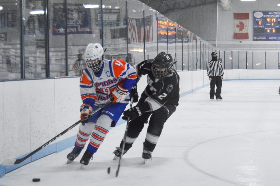Senior Abby Meyer races to the puck during the game Feb. 12. Parks record is now 5-3-1.
