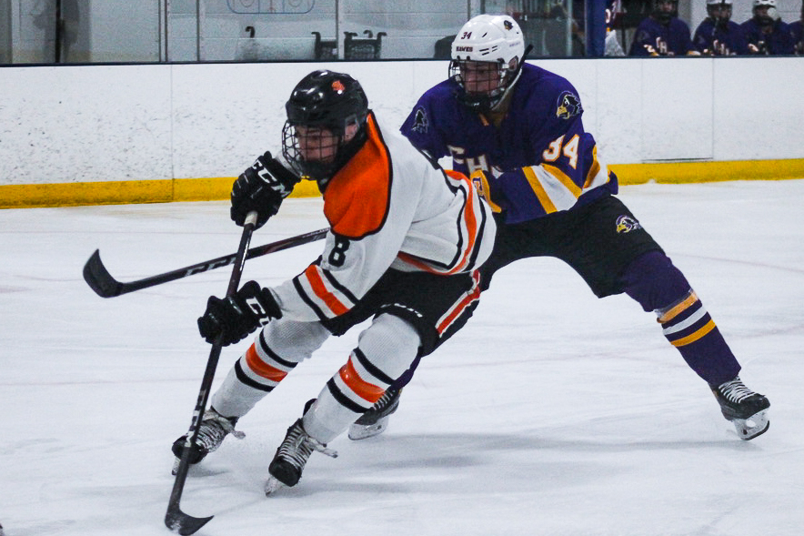 Sophomore Teddy Dahlin attempts to score a goal against Chaska. Park won 6-5 in a close game against Chaska.