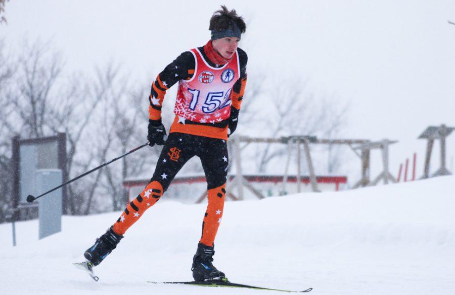 Freshman Thomas Shope glides on his ski Feb. 17. During this meet, Park swept all 4 races.