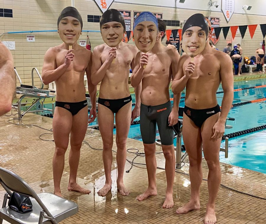 Senior boys' swimmers pose together after their meet Feb. 25. Park beat Hopkins at the senior night meet.