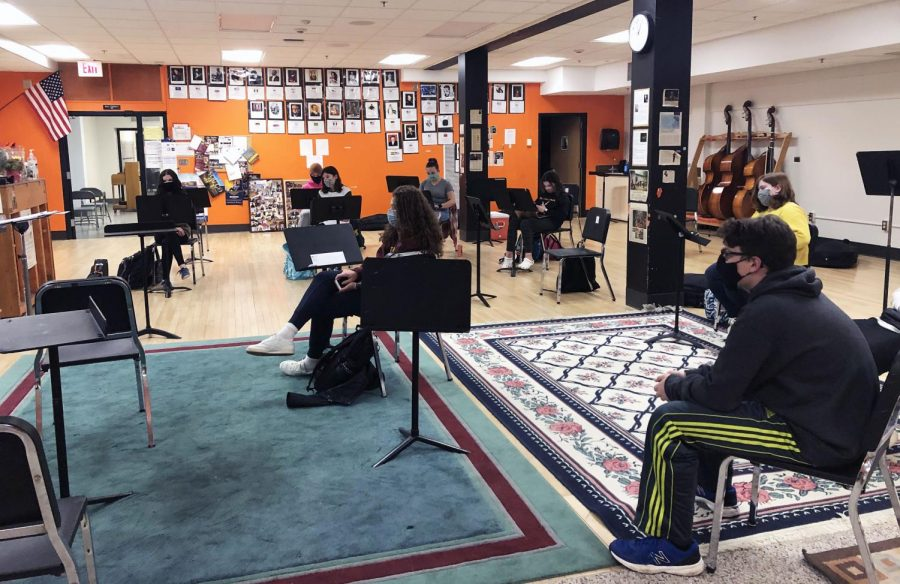 Orchestra students learn about different music styles during class March 23. Park orchestra reached its goal for its GoFundMe campaign.