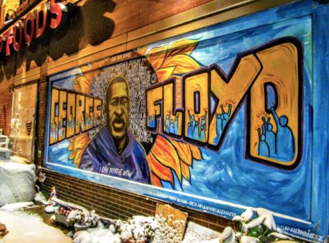 A mural at George Floyd Square March 15. Almost a year after the death of George Floyd, Daunte Wright was killed by police in Brooklyn Center sparking protests.