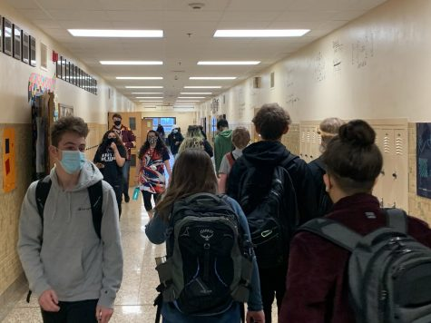 Students walk to their classes April 9. Plans to remain three feet apart for social distancing.