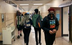 Students walk in the hallway to class April 9. Many students are now eligible to get the vaccine after Gov. Walz expanded vaccine eligibility to all 16-year-olds March 30.
