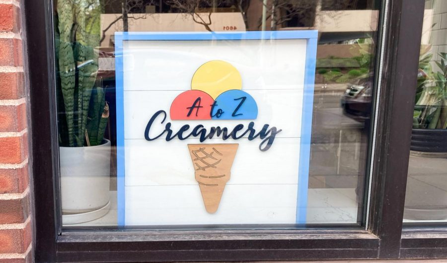 Sign for A to Z Creamery on Excelsior Blvd., taken May 3. The ice cream shop opened March, 2020.