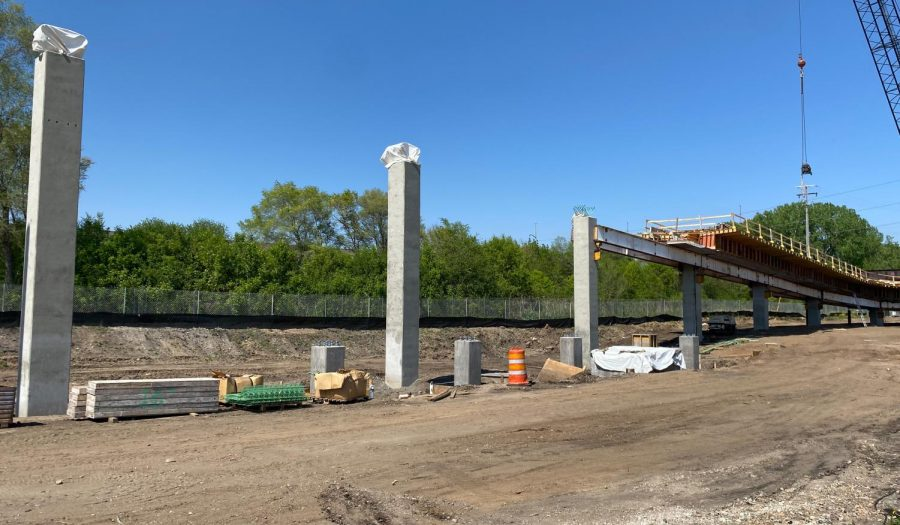 The Dakota-Edgewood trial bridge is currently under construction May 17. The bridge will have an art wall created by groups that identify as Dakota tribe.