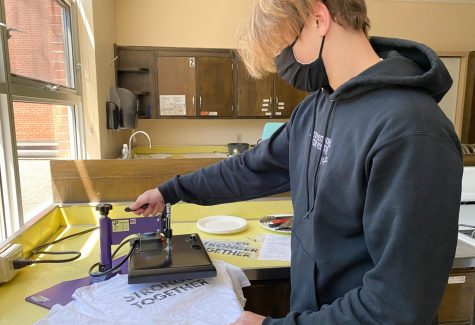 Freshman Born Anderson designs his own shirts, May 28. Anderson expresses his creativity through the designs on his shirts.