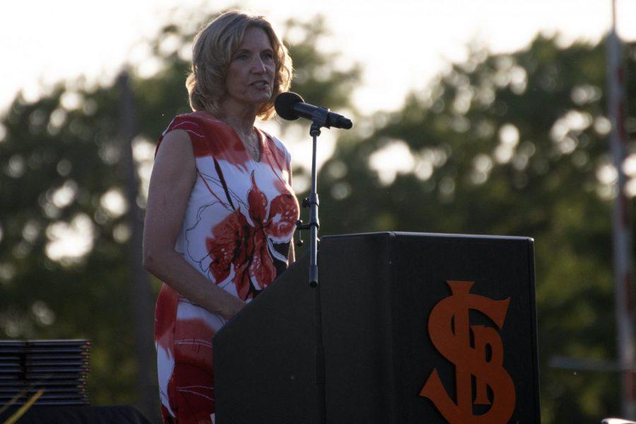 Interim Principal Wendy Loberg addresses the Park 2021 senior class June 8. Loberg stepped in as the interim principal for the 2020-2021 school year.