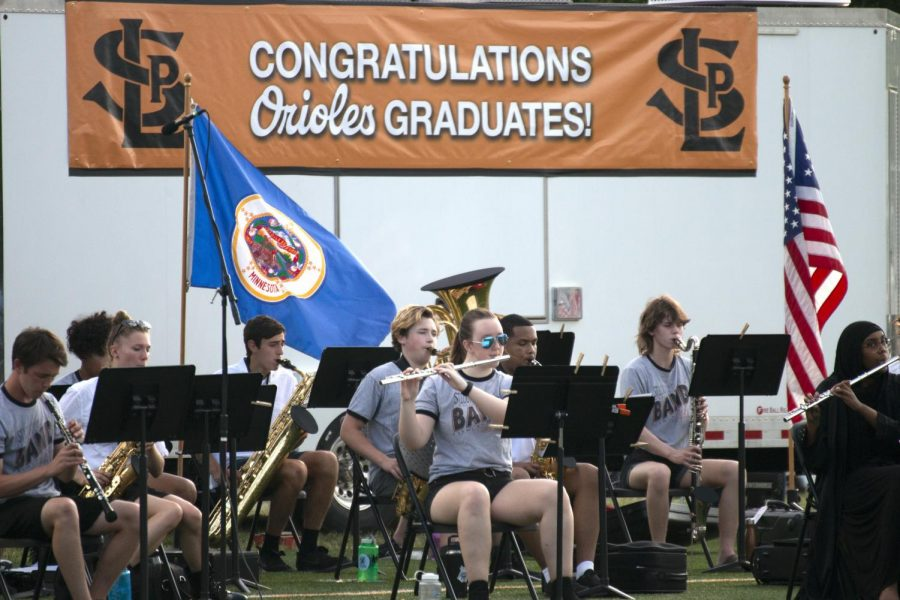 Junior Olivia Kelly plays the flute June 8. The Park band and choir performed at the 2021 commencement ceremony.