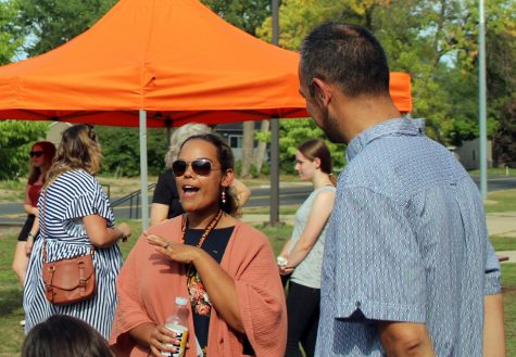 Principal LaNisha Paddock socializes with students at the ice cream social Aug. 24. The event took place outside of the cafeteria.