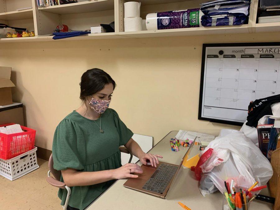 Katie Boerboom works on ninth grade environmental science notes, Sept. 16. Boerboom has began teaching environmental science and will move on to biology.
