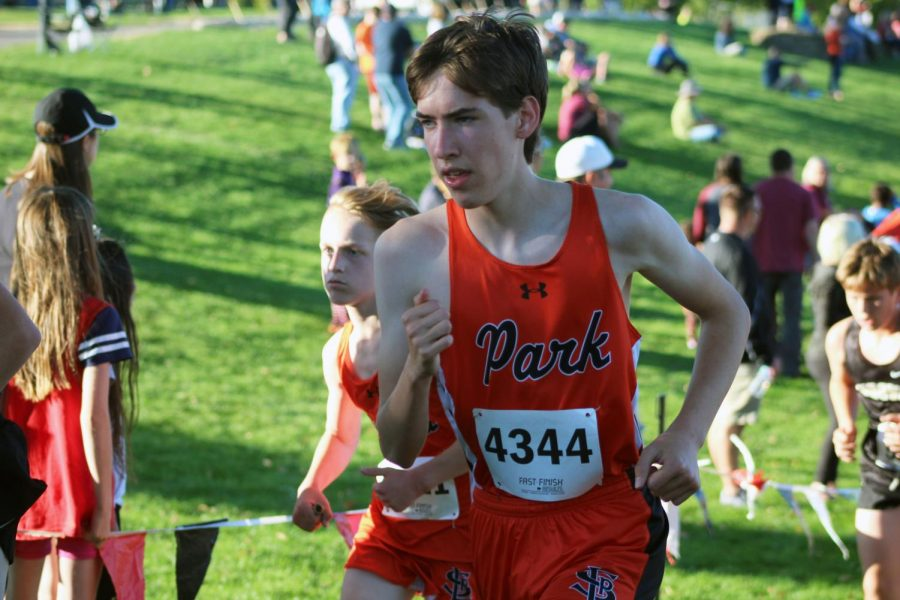 Senior Ben Matthews competes in a cross country meet Sept. 17. Park finished the meet in fifth place.