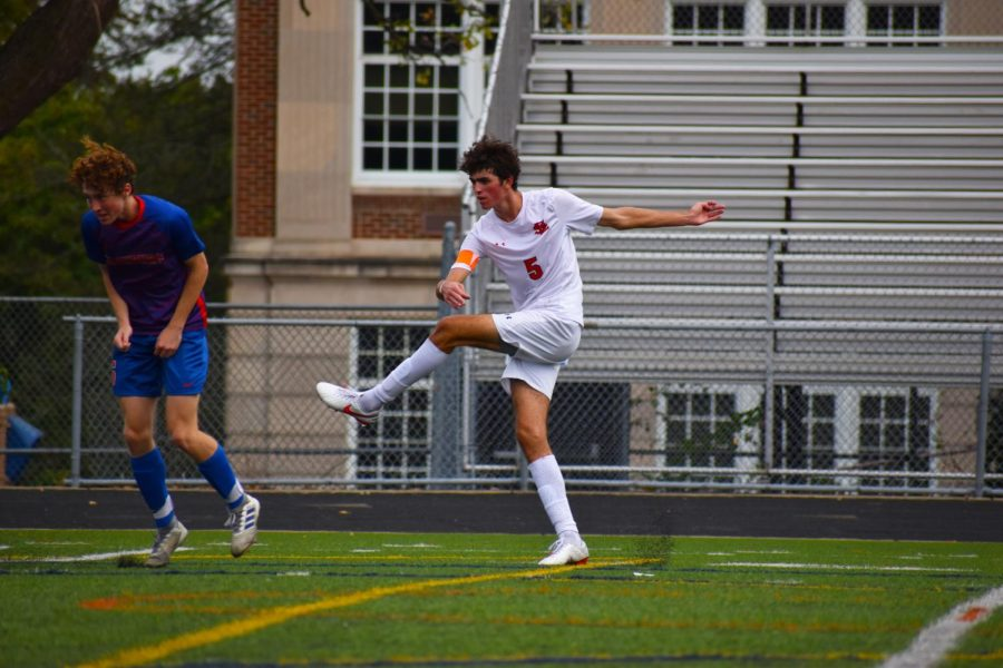 Going for the goal, senior Nick Kent attempts a shot Oct. 9. Park has now entered the quarterfinals.