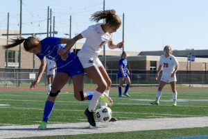 Senior Alma Beaton defends the ball in the second section game against Hopkins Oct. 16. Park lost 4-0.